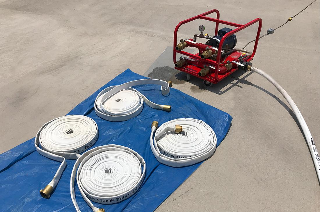 La prueba hidrostática de mangueras contra incendios